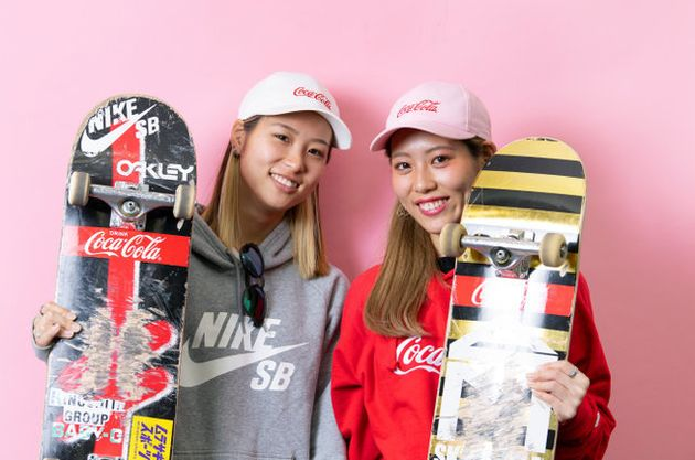 スケートボードの西村姉妹。姉の詞音(右)と妹の碧莉=諫山卓弥撮影