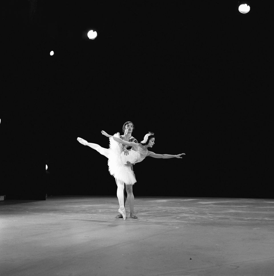 Rudolph Nureyev and Margot Fonteyn perform a piece from 'Swan Lake'