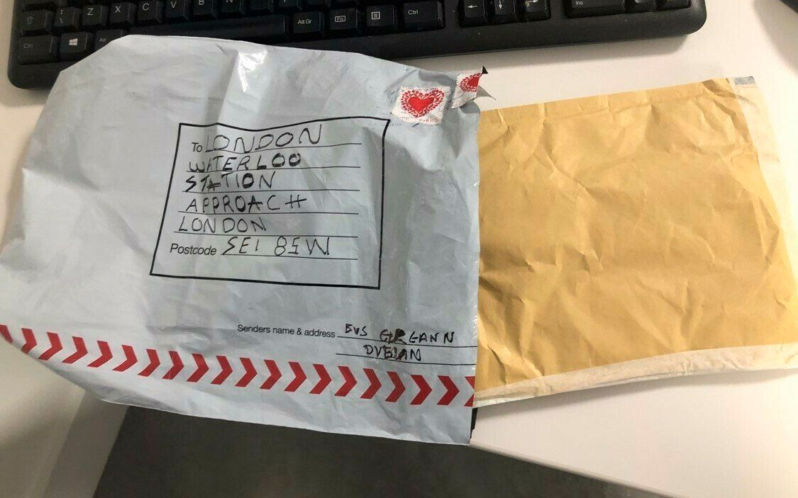 "In this photo provided by Britain's Metropolitan Police, a suspect package that was sent to Waterloo station is seen in England, Tuesday, March 5, 2019. Britain's counter-terrorism police are investigating after three suspicious packages were found in London, including one near City Airport and one near Heathrow Airport. Police said Tuesday all three write postal bags contained yellow bags thought by specialist police to be small improvised explosive devices. Police say the devices ""appear capable of igniting an initially small fire when opened."" (Sky News via AP)"