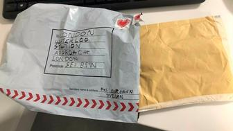 """In this photo provided by Britain's Metropolitan Police, a suspect package that was sent to Waterloo station is seen in England, Tuesday, March 5, 2019. Britain's counter-terrorism police are investigating after three suspicious packages were found in London, including one near City Airport and one near Heathrow Airport. Police said Tuesday all three write postal bags contained yellow bags thought by specialist police to be small improvised explosive devices. Police say the devices """"appear capable of igniting an initially small fire when opened."""" (Sky News via AP)"""