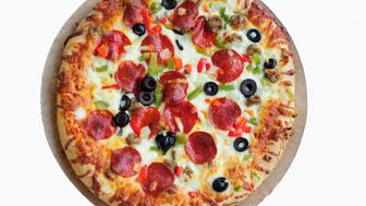 'Baked, frozen pizza, isolated on its carboard.  FOR MORE FOOD, CLICK('