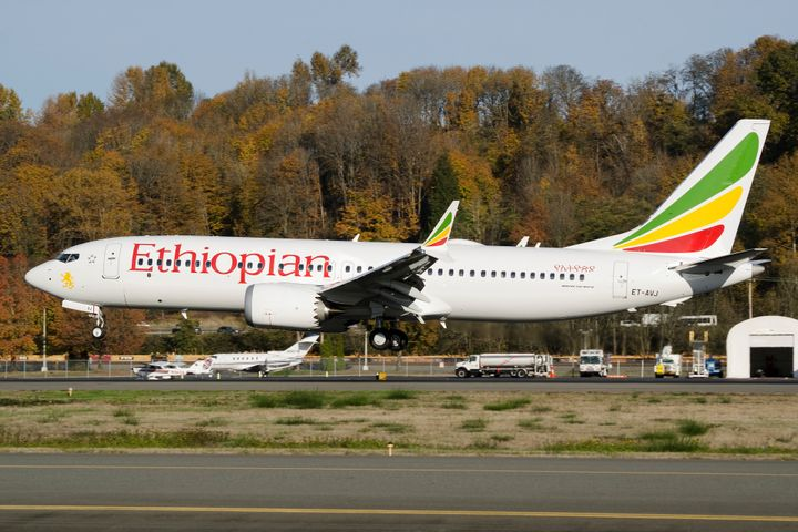 The Ethiopian Airlines Boeing 737 Max 8 plane that crashed shortly after takeoff in March is pictured just months earlier in
