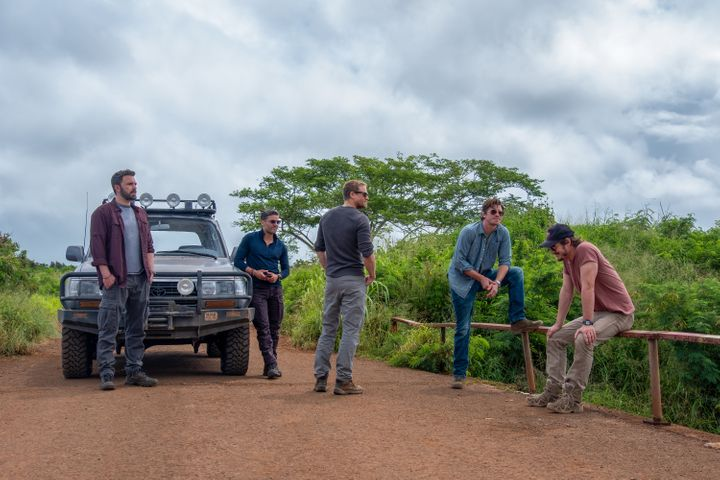 "Ben Affleck, Oscar Issac, Charlie Hunnam, Garrett Hedlund and Pedro Pascal in ""Triple Frontier"" on Netflix."