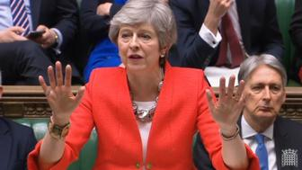 Theresa May could only get her first two words out before coughing and clearing her throat.