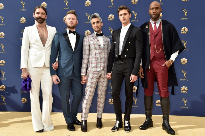 The Fab Five on the gold carpet at the 2018 Emmy Awards. From left to right: Jonathan Van Ness, Bobby Berk, Tan France, Antoni Porowski and Karamo Brown.