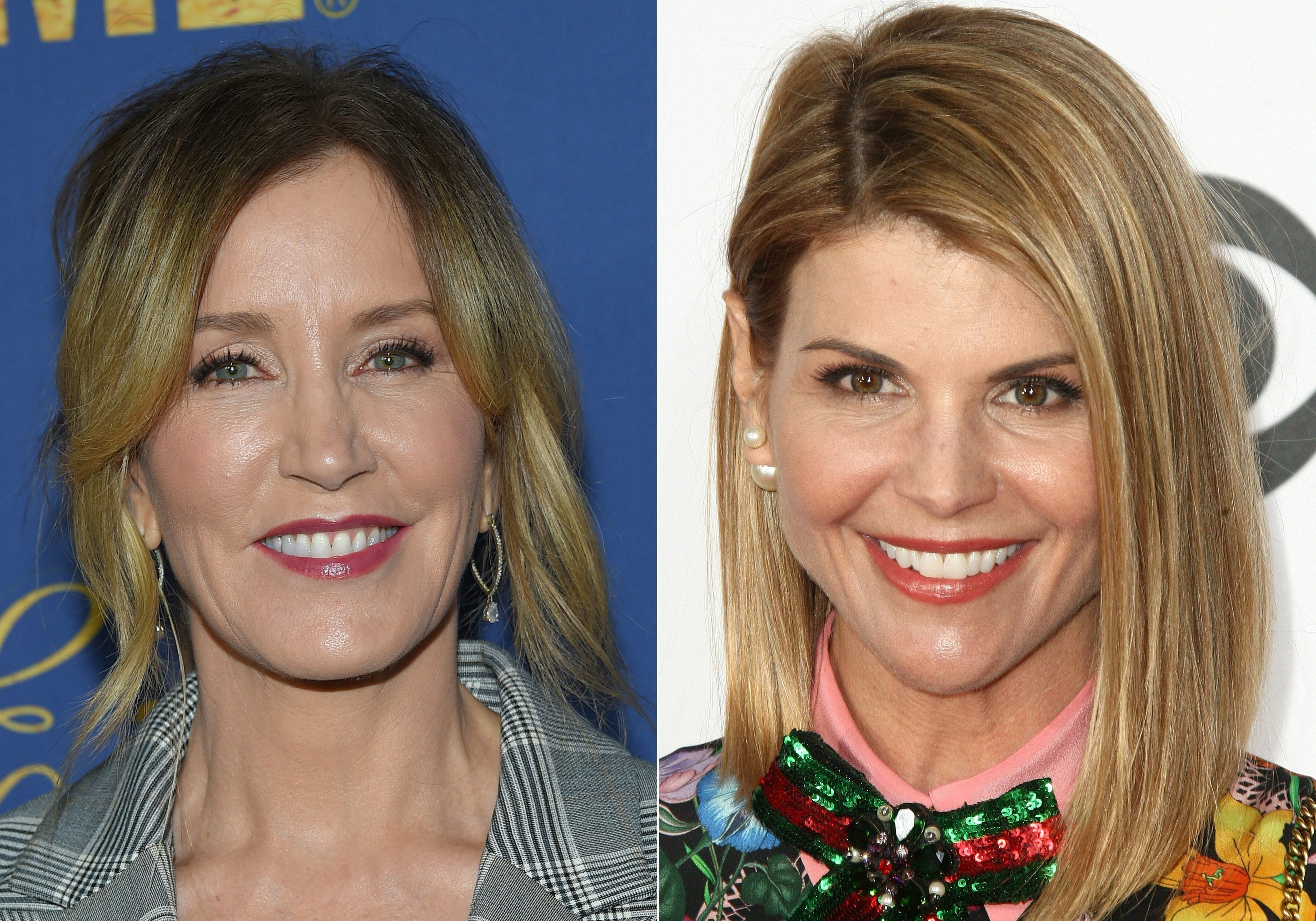 (COMBO) This combination of pictures created on March 12, 2019 shows US actress Felicity Huffman(L) attending the Showtime Emmy Eve Nominees Celebration in Los Angeles on September 16, 2018 and actress Lori Loughlin arriving at the People's Choice Awards 2017 at Microsoft Theater in Los Angeles, California, on January 18, 2017. - Two Hollywood actresses including Oscar-nominated 'Desperate Housewives' star Felicity Huffman are among 50 people indicted in a nationwide university admissions scam, court records unsealed in Boston on March 12, 2019 showed. The accused, who also include chief executives, allegedly cheated to get their children into elite schools, including Yale, Stanford, Georgetown and the University of Southern California, federal prosecutors said.Huffman, 56, and Lori Loughlin, 54, who starred in 'Full House,' are charged with conspiracy to commit mail fraud and honest services mail fraud. (Photos by LISA O'CONNOR and Tommaso Boddi / AFP)        (Photo credit should read LISA O'CONNOR,TOMMASO BODDI/AFP/Getty Images)