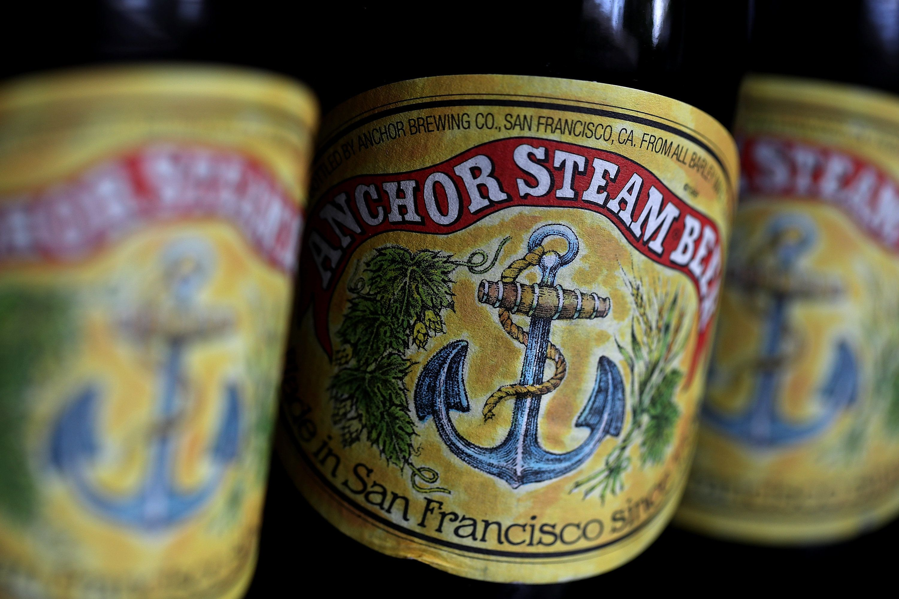SAN ANSELMO, CA - AUGUST 03:  Bottles of Anchor Steam beer are displayed on August 3, 2017 in San Anselmo, California. San Francisco based Anchor Brewing announced plans to sell to JapanÕs Sapporo Holdings Ltd for an undisclosed amount. Anchor Steam has brewed in San Francisco for 121 years.  (Photo by Justin Sullivan/Getty Images)