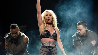 NATIONAL HARBOR, MD - JULY 12:  Britney Spears performs on stage during her 'Piece of Me' Summer Tour Opener at The Theater at MGM National Harbor on July 12, 2018 in National Harbor, Maryland.  (Photo by Kevin Mazur/BCU18/Getty Images for BCU)