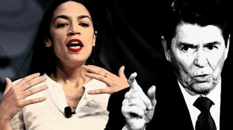 Rep. Alexandria Ocasio-Cortez, D-New York, speaks during South by Southwest on Saturday, March 9, 2019, in Austin, Texas; and President Ronald Reagan.  (Photo illustration: Yahoo News; photos: Nick Wagner/Austin American-Statesman via AP, AP)