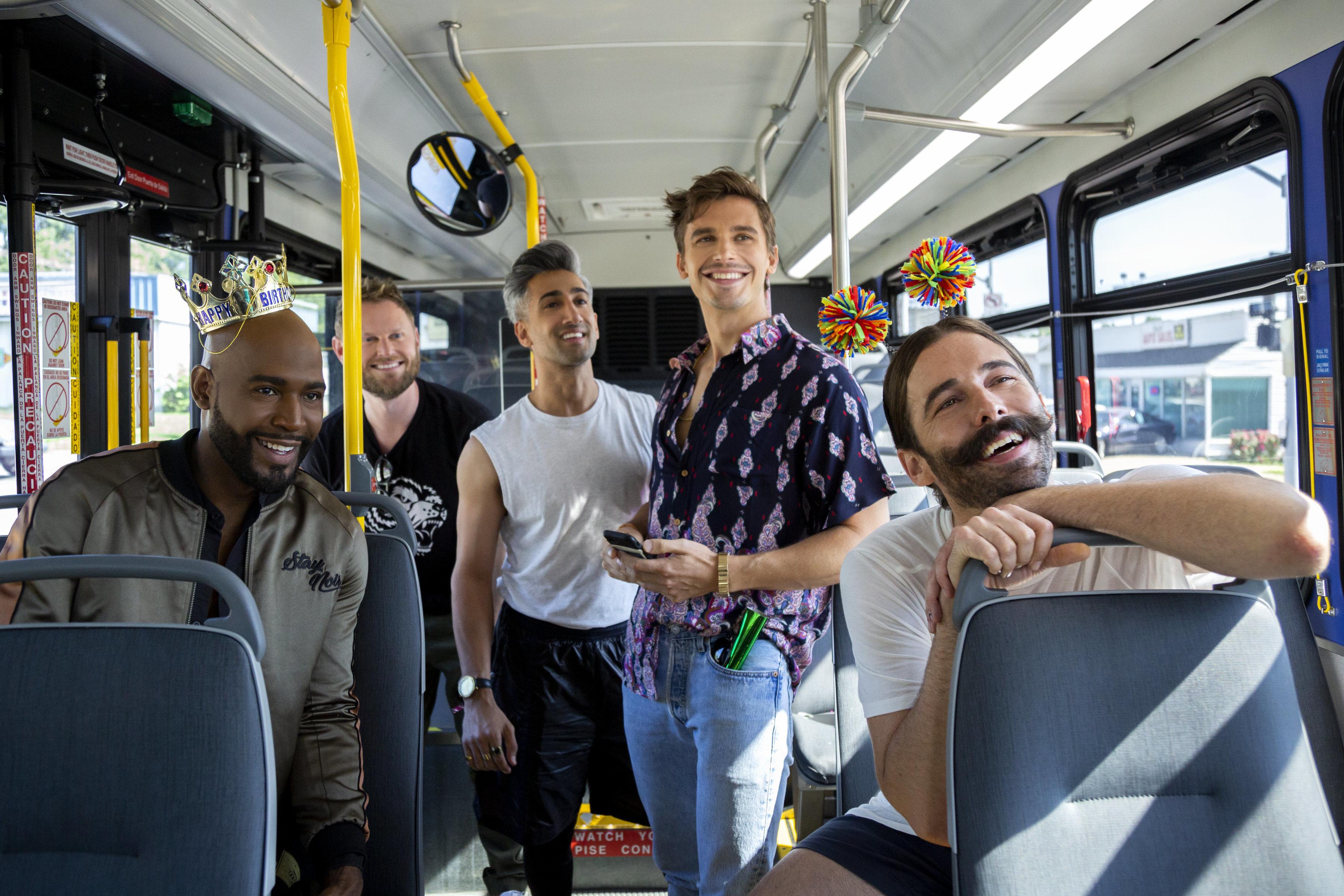 "Karamo Brown, Bobby Berk, Tan France, Antoni Porowski, Jonathan Van Ness in ""Queer Eye"" on Netflix."