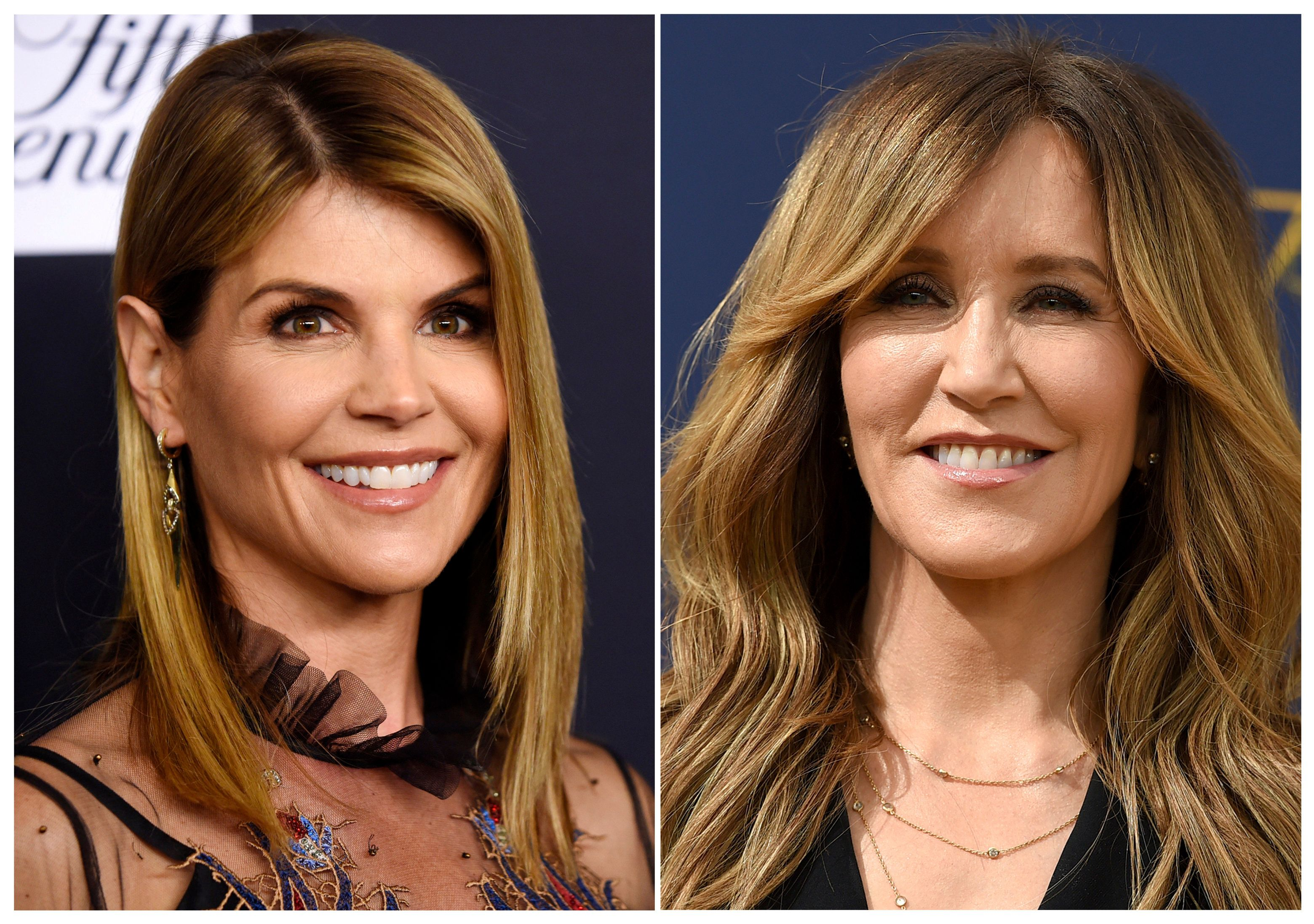 This combination photo shows actress Lori Loughlin at the Women's Cancer Research Fund's An Unforgettable Evening event in Beverly Hills, Calif., on Feb. 27, 2018, left, and actress Felicity Huffman at the 70th Primetime Emmy Awards in Los Angeles on  Sept. 17, 2018. Loughlin and Huffman are among at least 40 people indicted in a sweeping college admissions bribery scandal. Both were charged with conspiracy to commit mail fraud and wire fraud in indictments unsealed Tuesday in federal court in Boston. (AP Photo)