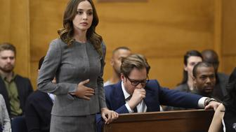 NEW YORK - APRIL 10: 'Dirty Little Secrets'-- Bull works with J.P. Nunnelly (Eliza Dushku) on the first of three cases to repay her for defending Benny at trial. However, they clash over their client, a computer cloud company that is battling the F.B.I. to retain privacy over their client flies that could help identify the source of a recent eco-terrorist attack, on BULL, Tuesday, May 16 (9:00-10:00 PM, ET/PT) on the CBS Television Network. Pictured L-R: Eliza Dushku as J.P. Nunnelly and Michael Weatherly as Dr. Jason Bull  (Photo by David M. Russell/CBS via Getty Images)