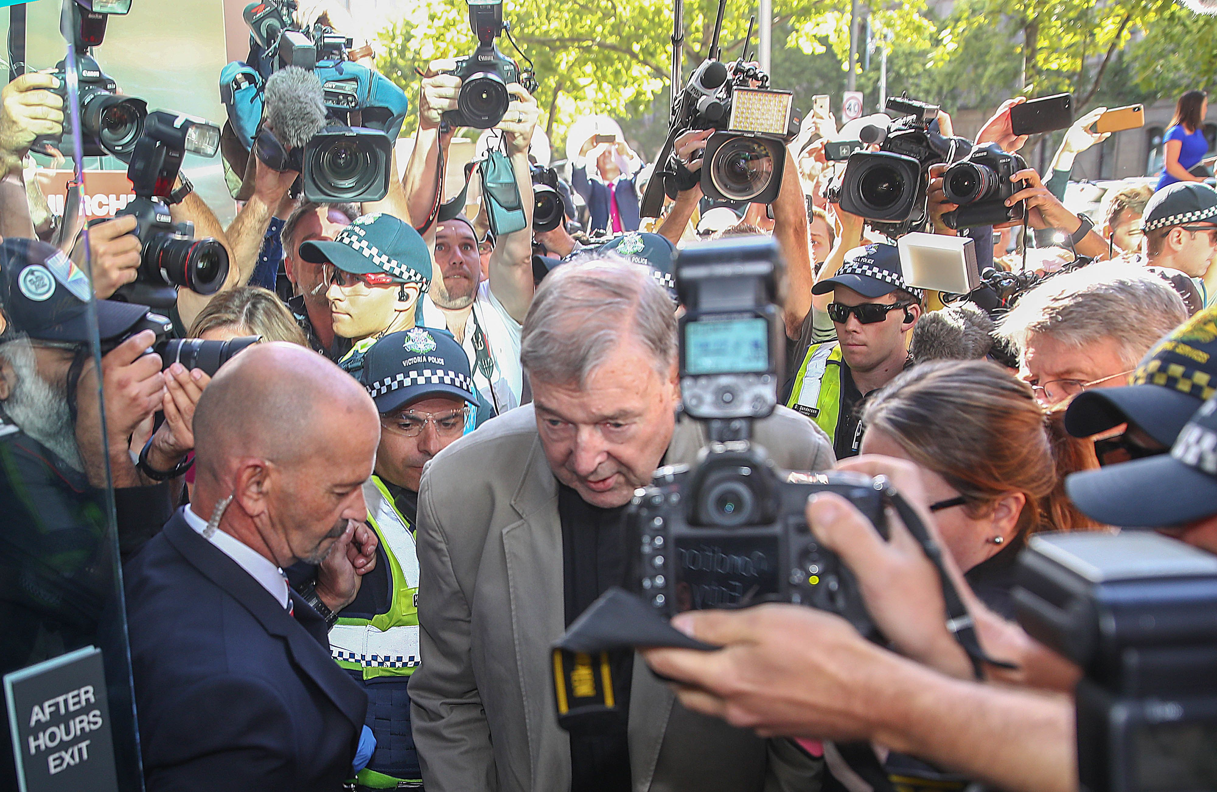 MELBOURNE, AUSTRALIA - FEBRUARY 27: George Pell arrives at Melbourne County Court on February 27, 2019 in Melbourne, Australia. Pell, once the third most powerful man in the Vatican and Australia's most senior Catholic, was found guilty on 11 December in Melbourne's county court, but the result was subject to a suppression order and was only able to be reported from Tuesday. The jury was unanimous in their verdict, finding Pell guilty on five counts of child sexual assault in December 1996 and early 1997 at St Patrick's Cathedral.  (Photo by Scott Barbour/Getty Images)