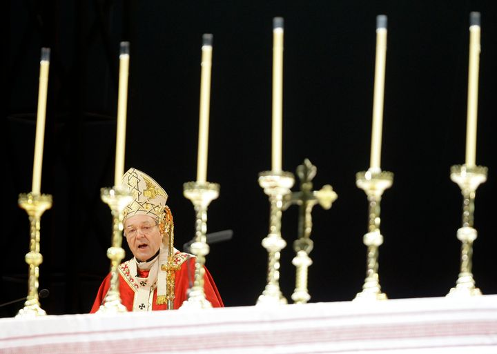 Cardinal George Pell speaks during the opening Mass for World Youth Day in Sydney on July 15, 2008.