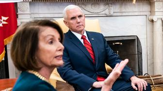 WASHINGTON, DC - DECEMBER 11 : President Donald J. Trump debates with House Minority Leader Nancy Pelosi, D-Calif., left, and Senate Minority Leader Chuck Schumer, D-N.Y., right, as Vice President Mike Pence listens during a meeting in the Oval Office of White House on Tuesday, Dec. 11, 2018 in Washington, DC. (Photo by Jabin Botsford/The Washington Post via Getty Images)