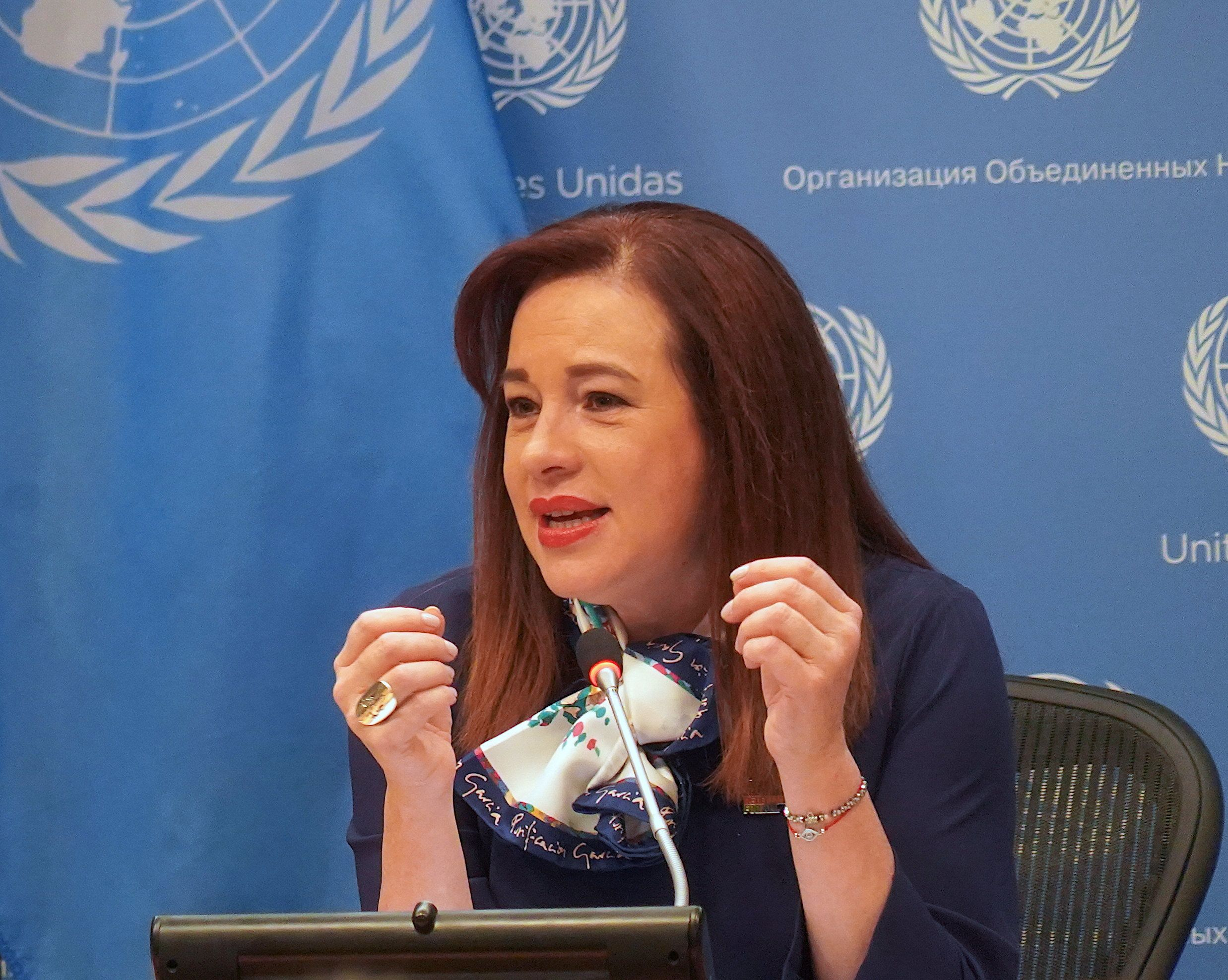 Second woman President of the United Nations General Assembly, María Fernanda Espinosa Garcés, had a press briefing on the International Women's Day at the United Nations Headquarters, New York, USA, on 8 March 2019.   (Photo by Selcuk Acar/NurPhoto via Getty Images)