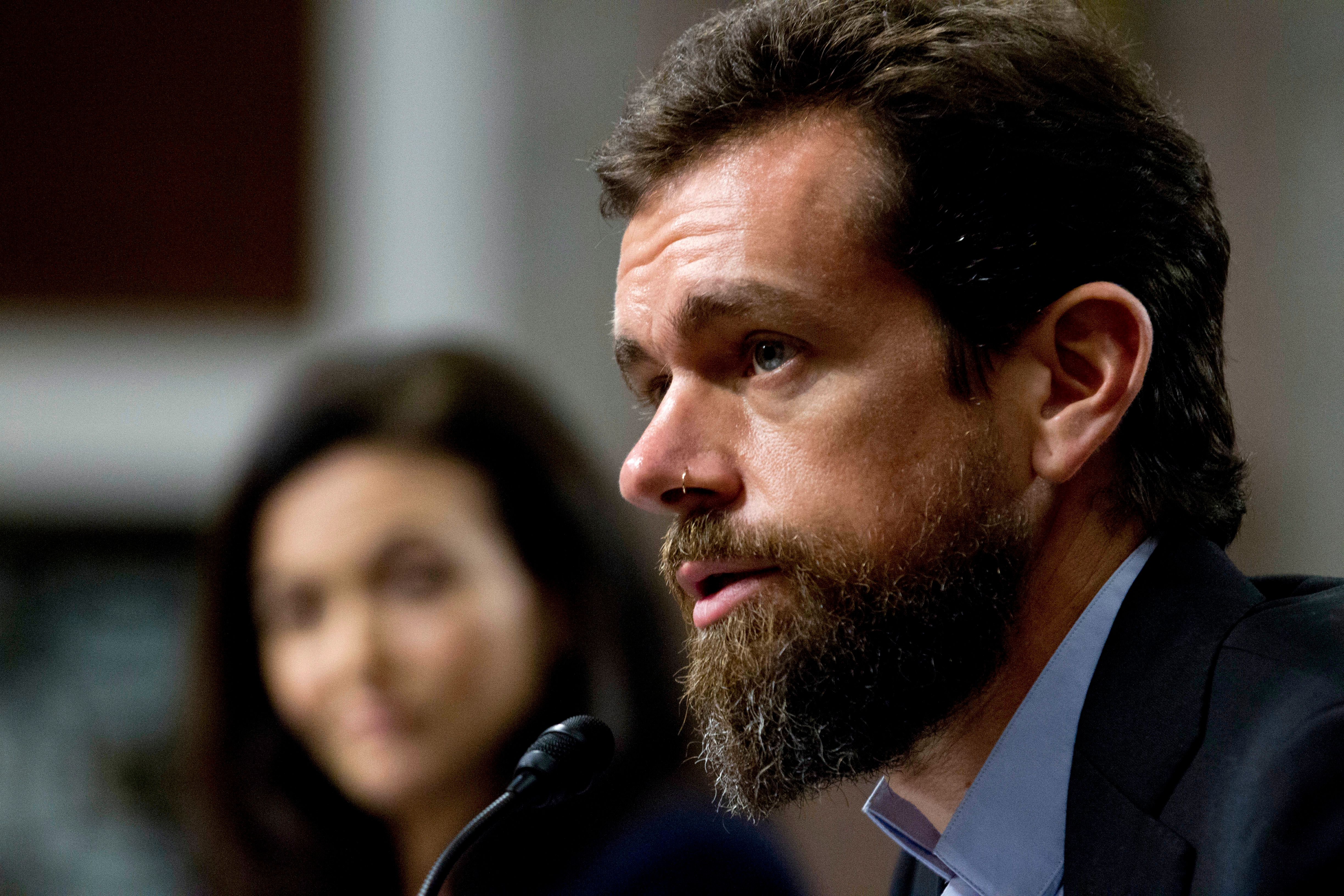 Twitter CEO Jack Dorsey testifies before the Senate Intelligence Committee hearing on Capitol Hill, Wednesday, Sept. 5, 2018, in Washington. (AP Photo/Jose Luis Magana)
