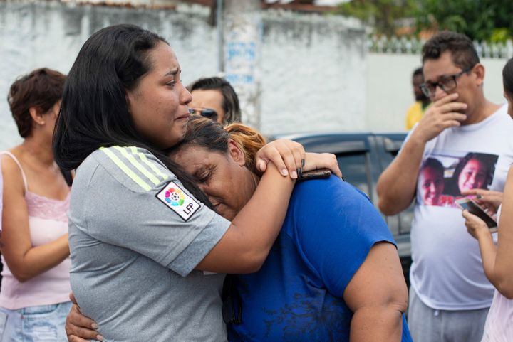 The scene outside the Raul Brasil State School in Suzano, SP, Brazil on March 13, 2019 after a shooting that has left at leas