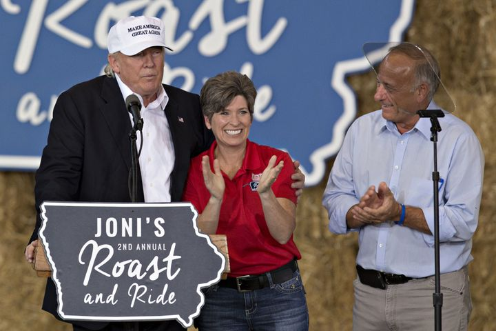 Candidate Donald Trump makes an appearance with Sen. Joni Ernst (R-Iowa) and Rep. Steve King in Des Moines on Aug. 27, 2016.