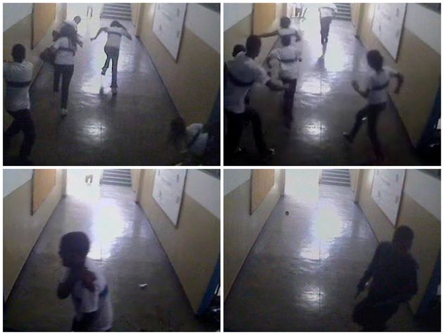 Câmeras de segurança captaram o momento em que estudantes escapam do atirador na escola...