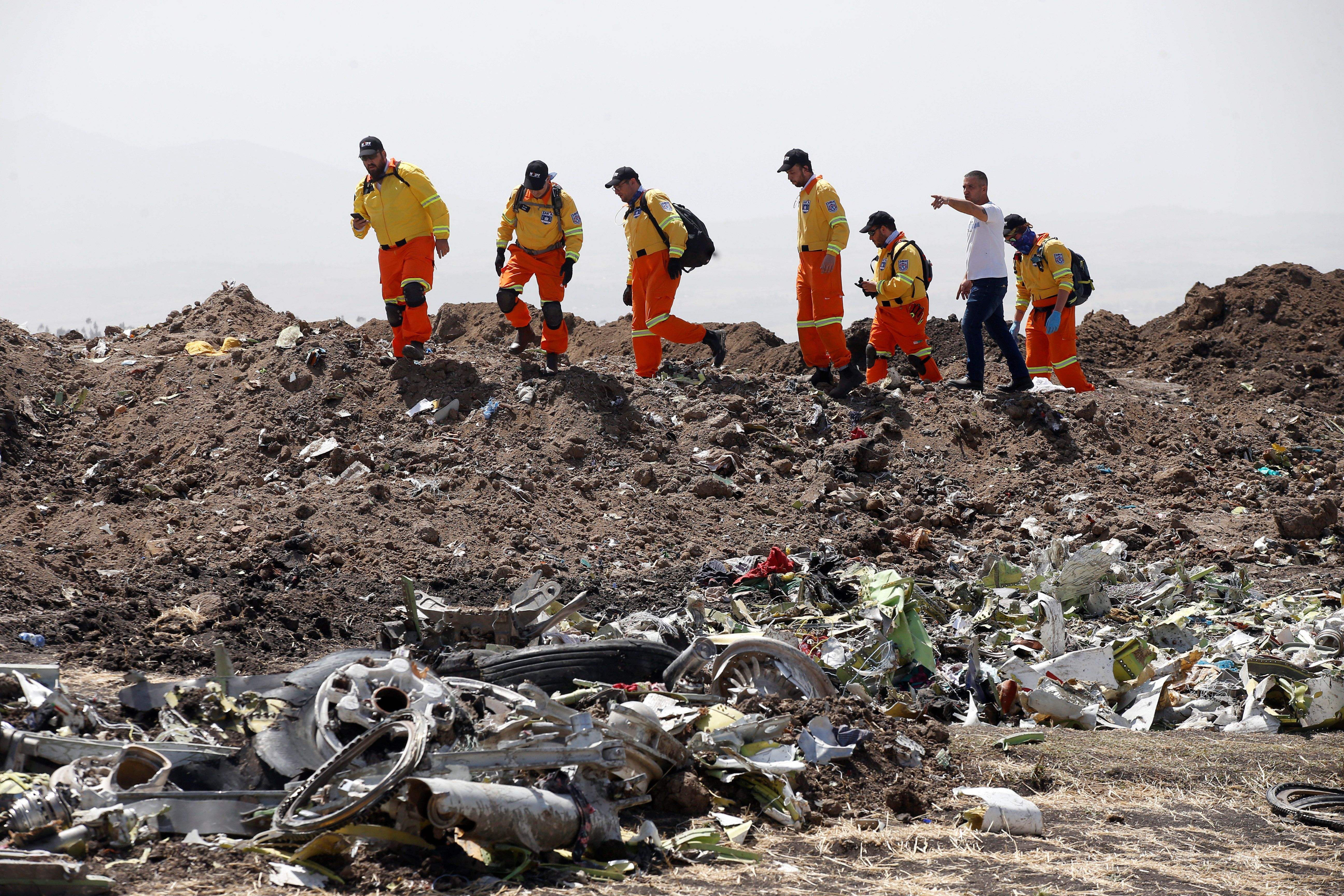 The crash site of the Ethiopian Airlines