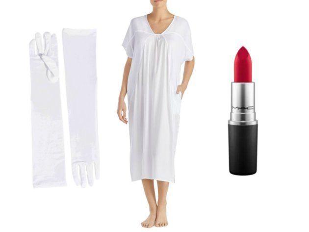 Camisón y guantes blancos y pintalabios