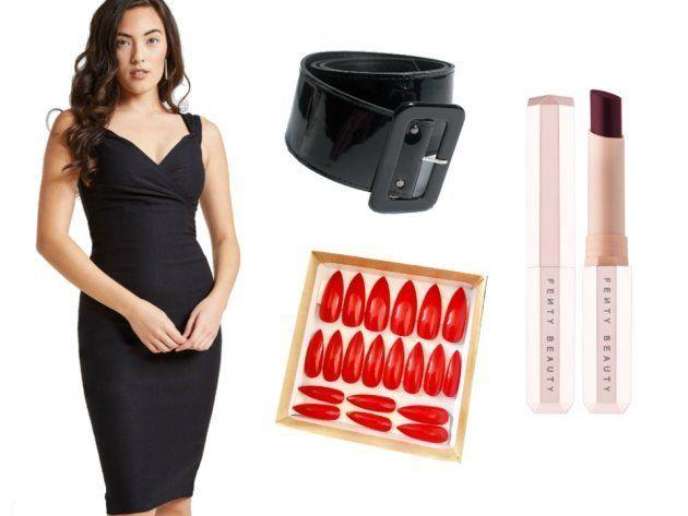 Vestido ajustado negro corto, cinturón ancho negro, uñas postizas rojas y pintalabios