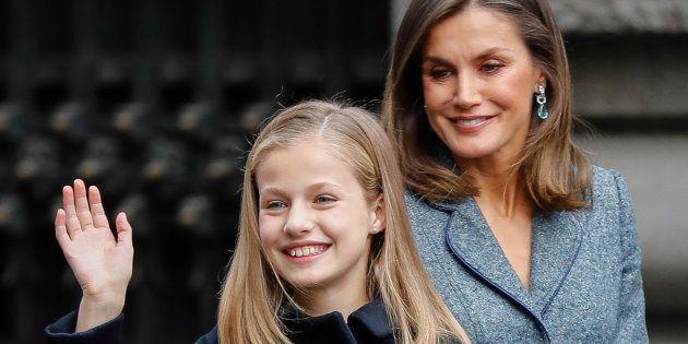 La reina Letizia junto a la princesa Leonor en el acto de la Lectura de la Constitución este