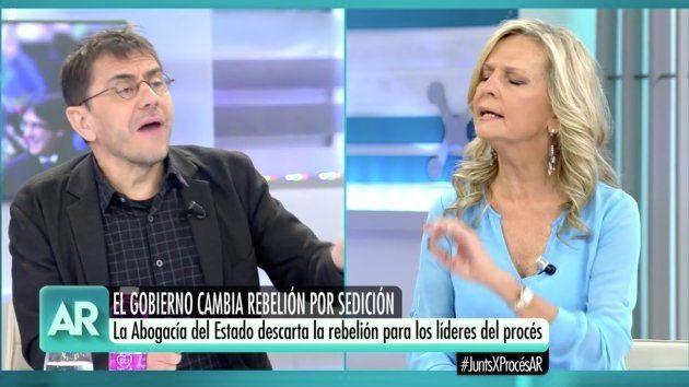 Juan Carlos Monedero e Isabel San Sebastián en 'El Programa de