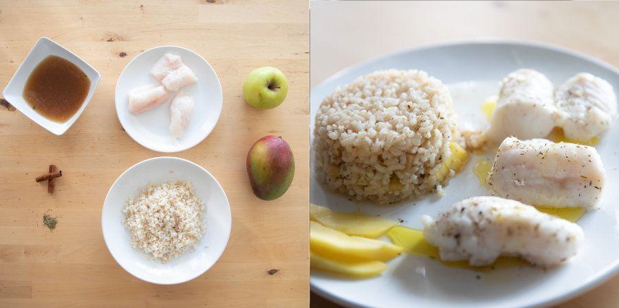 Merluza con arroz integral y