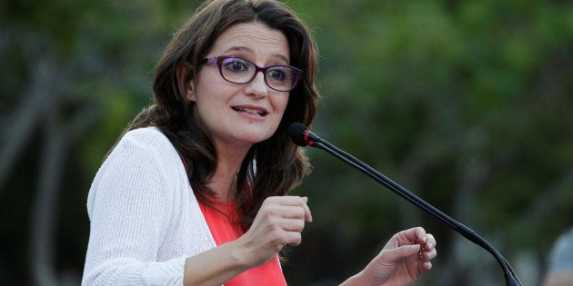 Monica Oltra, de Compromís, durante un mitin de campaña en