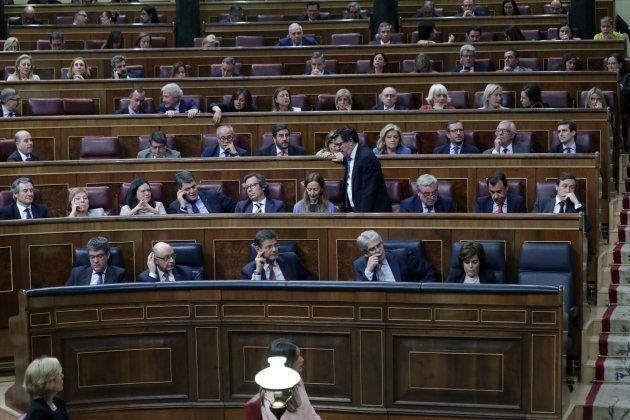 Escaño vacío de Mariano Rajoy durante el debate de la moción de