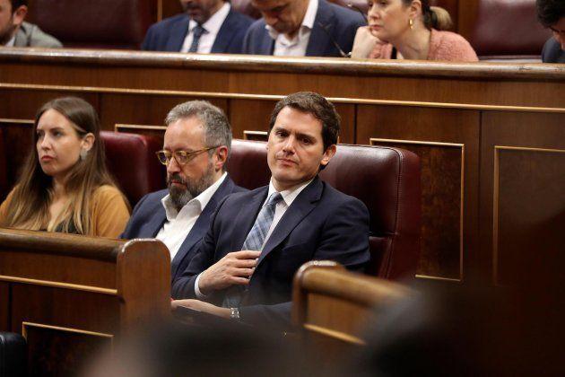 Albert Rivera, durante la segunda jornada de la moción de