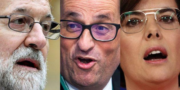 Mariano Rajoy, Quim Torra y Soraya Sáenz de