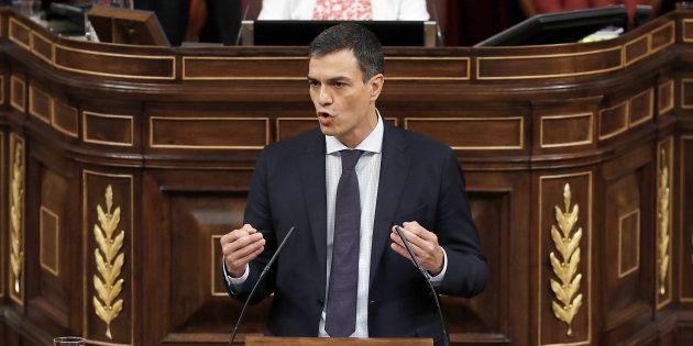 El presidente del Gobierno, Pedro Sánchez, en el discurso de la moción de
