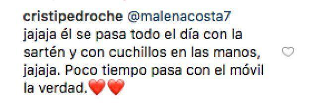 El sorprendente comentario de Malena Costa en una foto de Cristina Pedroche y David