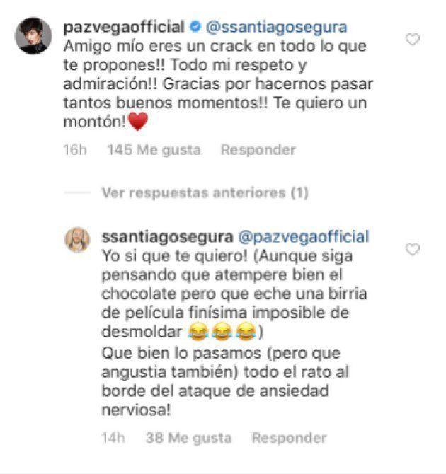 Comentario de Paz Vega en el Instagram de Santiago