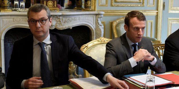 Imagen de archivo de Emmanuel Macron (derecha) y su jefe de gabinete, Alexis Kohler