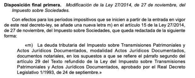 Publicación del decreto ley en el