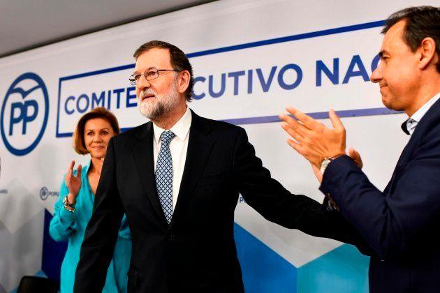 Rajoy, durante su despedida en la ejecutiva nacional del