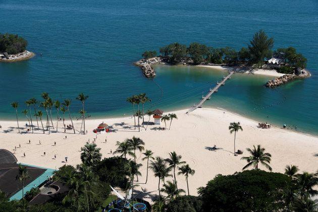 Vista de la playa de Siloso, en la isla
