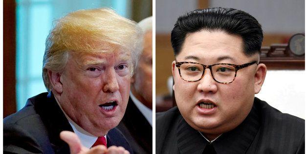 Combo con las fotos de Trump (izquierda) y Kim Jong-Un