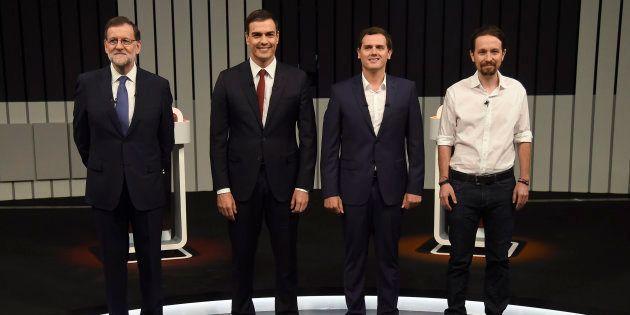Mariano Rajoy, Pedro Sánchez, Albert Rivera y Pablo Iglesias durante un debate televisivo con motivo...