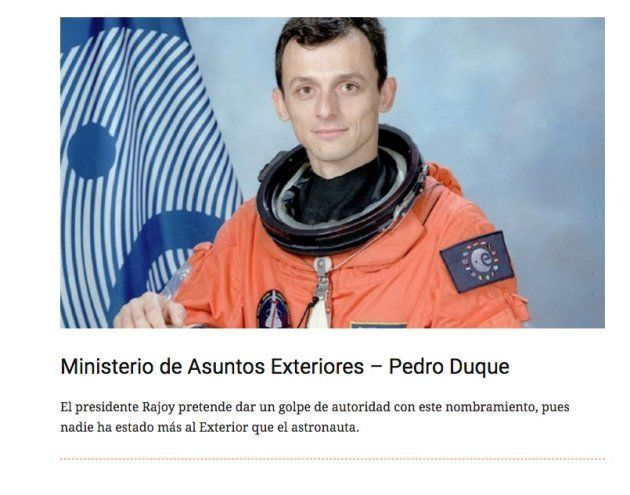 El vaticinio de 'El Mundo Today' sobre Pedro Duque que se ha vuelto