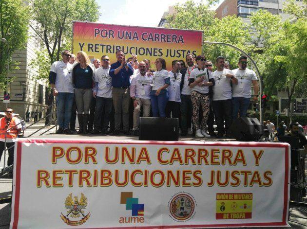 Imagen de una de la protesta celebrada ante el Ministerio de Defensa, en Madrid, el pasado 12 de