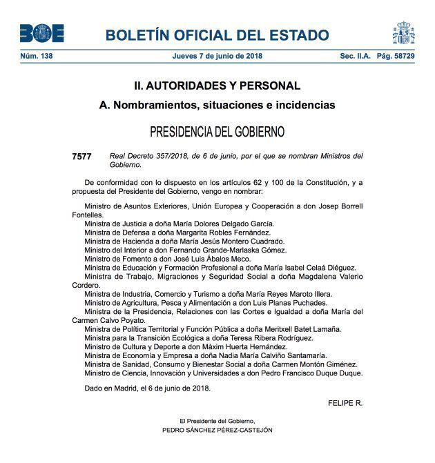 Captura de los nombramientos publicados en el