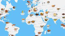 El mapa con el que puedes ver de un vistazo los platos típicos de cada país del