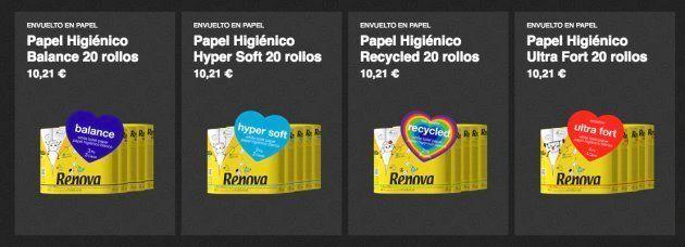 Los cuatro nuevos productos de la marca de papel higiénico Renova que no utiliza envoltorio de