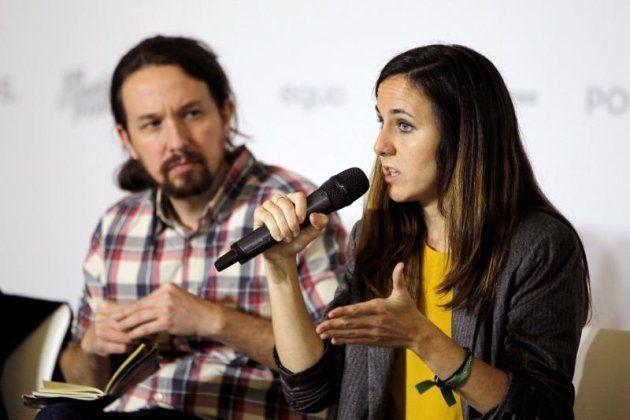 El secretario General de Podemos, Pablo Iglesias y la portavoz adjunta de Unidos Podemos en el Congreso,...