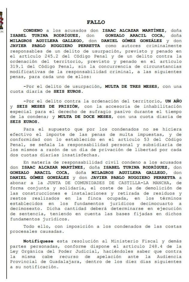 Condenados a un año y medio de prisión los repobladores de Fraguas, que tendrán que pagar la demolición...